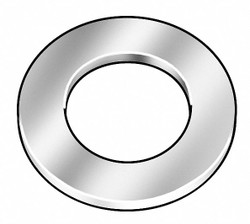 #0x3/16 in O.D., Flat Washer, Steel, Low Carbon, Zinc Plated, PK50