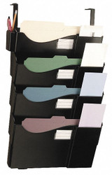 "16-5/8"" x 5"" x 27-1/2"" Plastic Wall Rack 4-Pocket Set w/Hangers, Black"