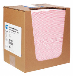 """13"""" Absorbent Pad, Fluids Absorbed: Chemical, Hazmat, Heavy, 9.8 gal., 100 PK"""