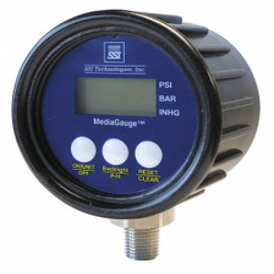 "-30 to 0 In. Hg Digital Vacuum Gauge, 2-1/2"" Dial, 1/4"" MNPT Connection, Plastic"
