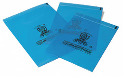 """12""""L x 10""""W VCI Reclosable Poly Bag with Zip Seal Closure, Blue; 4 mil Thickness"""
