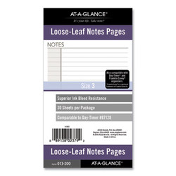 Lined Notes Pages, 6.75 x 3.75, White, 30/Pack 013200