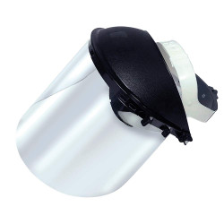 Lightweight 170-SB Face Shield Assembly with Ratcheting Headgear, Clear Tint, Uncoated, Black 14955
