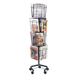 Wire Rotary Display Racks, 16 Compartments, 15w x 15d x 60h, Charcoal 4139CH