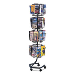 Wire Rotary Display Racks, 32 Compartments, 15w x 15d x 60h, Charcoal 4128CH