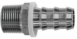 Barbed Push-On Hose Fittings, 1/4 in x 1/4 in (NPTF)