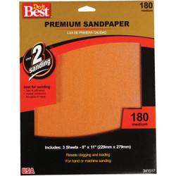 Do it Best Premium Plus 9 In. x 11 In. 180 Grit Medium Sandpaper (3-Pack)