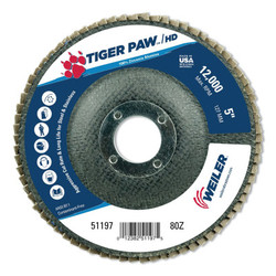 Tiger Paw™ Coated Abrasive Flap Disc, Type 27, 5 in, 80 Grit, 7/8 in Arbor