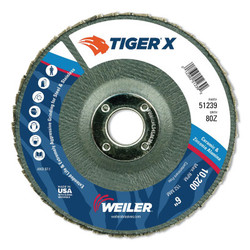 Tiger® X Flap Disc, Type 29, 6 in, 80 Grit, 7/8 in Arbor