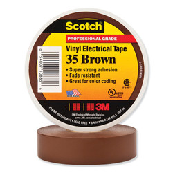 Scotch® Vinyl Electrical Color Coding Tape 35, 66 ft x 3/4 in, Brown