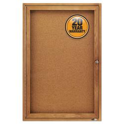 Enclosed Bulletin Board, Natural Cork/Fiberboard, 24 x 36, Oak Frame 363