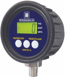 "0 to 1000 psi Digital Pressure Gauge, 2-1/2"" Dial, 1/4"" MNPT Connection, Plastic"