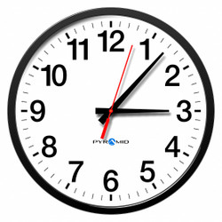 "13-1/2"" Round Wired Synchronized Analog Clock Arabic, Black Plastic Frame"