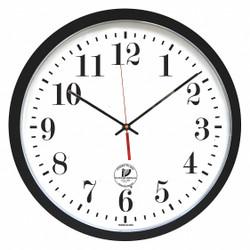 "16-1/2"" Round Wall Clock Arabic, Black High Impact Polystyrene Frame"