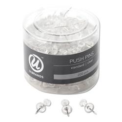 """Standard Push Pins, Plastic, Clear, 7/16"""", 200/Pack 658U0824"""