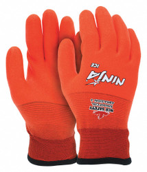 Cold Protection Gloves,  M,  Acrylic Lining,  Hi-Visibility Orange,  1 PR