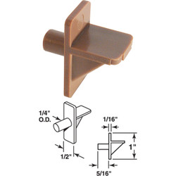 Prime-Line 1/4 In. Brown Plastic Shelf Support (8-Count) U 10137