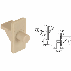 Prime-Line 1/4 In. Almond Plastic Shelf Support (8 Count) U 10177