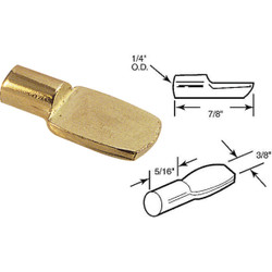 Prime-Line 1/4 In. Brass Spoon-Style Shelf Support Peg (8-Count) U 10162