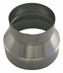 """Galvanized Steel Reducer, 9"""" x 7"""" Duct Fitting Diameter, 6"""" Duct Fitting Length"""