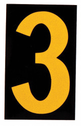 """Brady Number Label, 3, Yellow On Black, 1"""" Character Height, 25 PK 5905-3"""