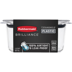 Rubbermaid Brilliance 1.3 C. Clear Rectangle Food Storage Container 2024345