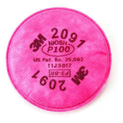 3M Particulate Filters P100 #2091/07000 , Pink, 2 Count Pack of 3