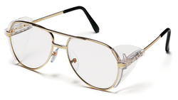 Pyramex SG310A Pathfinder Safety Eyewear Clear Lens With Gold Frame pack of 6