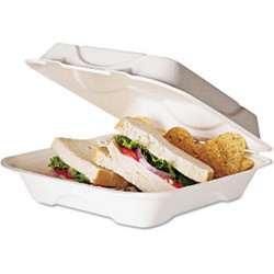 Eco-Products EP-HC91, Compostable Clamshell Food Container, 1 Compartment,  Whit