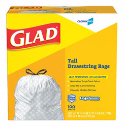 Glad Trash Bag,  13 gal.,  LLDPE,  Coreless Roll,  White,  PK 100 White   78526