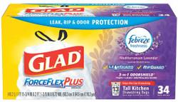 Glad Trash Bag, 13 gal., PK34 White   Kitchen 78531