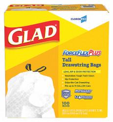 Glad Trash Bag,  13 gal.,  LLDPE,  Coreless Roll,  White,  PK 100 White   70427