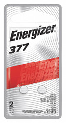 Energizer Button Battery, Silver, 1.5VDC, 377, PK2   377BPZ-2