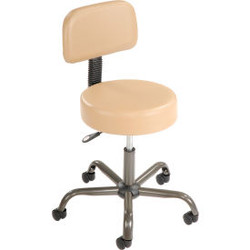 Interion Antimicrobial Vinyl Medical Stool with Backrest, Beige