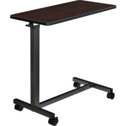 Global Industrial Overbed Table with H-Base, Walnut Laminate Tabletop