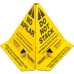 """Global Industrial """"Do Not Stack"""" Printed Trilingual Pallet Cones, Yellow, 50/Pac"""