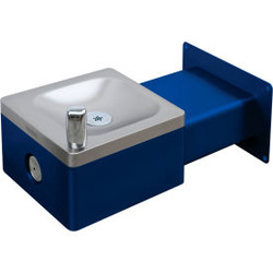 Global Industrial Outdoor Wall Mounted Drinking Fountain, Blue
