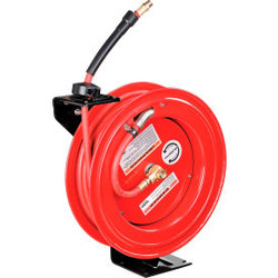 "Global Industrial 3/8""x 50' 300 PSI Spring Retractable Steel Hose Reel (With Hos"