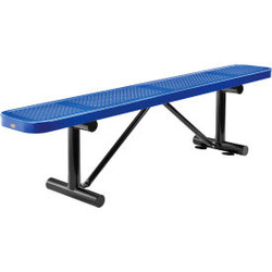 Global Industrial 6 ft. Outdoor Steel Flat Bench - Perforated Metal - Blue