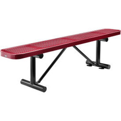 Global Industrial 6 ft. Outdoor Steel Flat Bench - Perforated Metal - Red