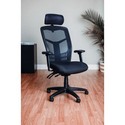Interion Mesh Task Chair with Headrest - Fabric - High Back - Black
