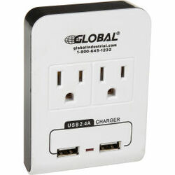 Global Industrial 2 Outlet Wall Adapter, 2 USB Charging Ports, 15A, 125V, 1875W,
