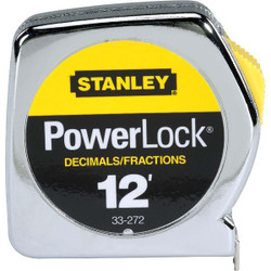 "STANLEY® POWERLOCK® DECIMAL TAPE RULE W/ METAL CASE 1/2"" X 12'"