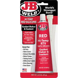 J-B Weld 3 Oz. Red Hi-Temp RTV Silicone Gasket & Sealant 31314