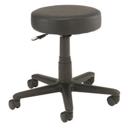 Interion All Purpose Mobile Stool without Back, Black