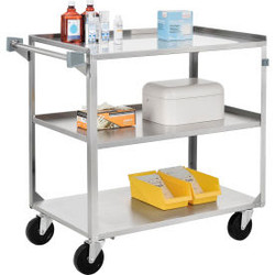 "Global Industrial Stainless Steel Utility Cart, 27""L x 16""W x 32""H, 300 Lb. Cap"