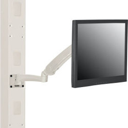 Global Industrial Gas Spring LED/LCD Flat Panel Monitor Arm with VESA Plate, Bei