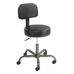 Interion Antimicrobial Vinyl Medical Stool with Backrest, Black