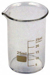 Lab Safety Supply Beaker,Low Form,25mL,Non-Sterile,PK12 HAWA 5YGY8