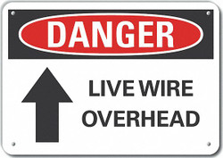 Lyle Rflctv Live Wire Dangr Sign,10x14in,Alum HAWA LCU4-0189-RA_14X10